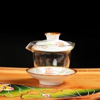 尚帝(shangdi)青花五彩手繪茶具介杯茶備耐熱玻璃茶具手繪陶瓷玻璃蓋碗3件 反口蓋碗190ml