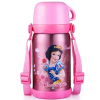 迪士尼 Disney 保温杯 儿童不锈钢真空水杯子男女学生大容量畅饮便携保温壶 600ML 公主粉