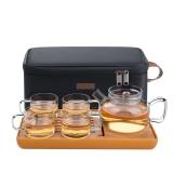 绿珠lvzhu 便携茶具套装 随身旅行功夫玻璃茶具 户外便携玻璃茶壶茶杯一壶四杯Q729