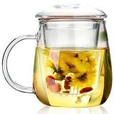 物生物/RELEA 玻璃杯 耐熱泡茶杯子 帶過濾玻璃水杯 蘑菇杯320ML