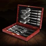 阳光飞歌 不锈钢西餐餐具 牛排刀叉勺礼盒12件套装红色 1055