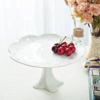 瓷工巧匠 陶瓷水果盘果篮高脚欧式纯白浮雕点心蛋糕干果盘