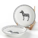 佳佰 盘子斑马拾趣系列7英寸美康陶瓷饭盘套装2件套