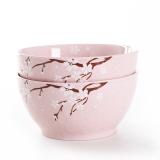 佳佰 碗樱花语系列6英寸露珠韩尚陶瓷碗套装2件套(粉)