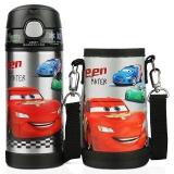 迪士尼 Disney 保温杯 儿童不锈钢吸管杯子男女学生卡通水壶(含便携杯套)350ml黑色汽车