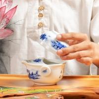 尚帝(shangdi)旅行茶具一茶壶一茶杯套装陶瓷茶具功夫个人泡茶山水快客杯