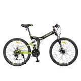 永久24速自行车 前后减震折叠山地车 双碟刹 F18 黑绿色