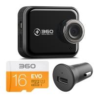 360行車記錄儀尊享升級版 J501C 安霸A12 高清夜視 WIFI連接 智能管理 機卡套裝 黑色