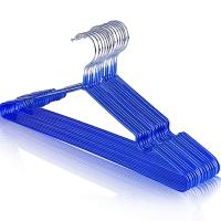 晟旎尚品 晟旎尚品 浸塑衣架 纳米防滑塑料凹槽晾晒干湿两用晾衣架 蓝色(40只装)