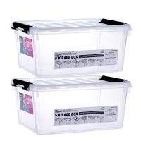 乐扣乐扣 塑料收纳箱整理箱储物盒两件套 车载储物箱衣物箱杂物百纳箱 INP111NS2 透明色 15L*2