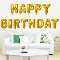 京唐 生日派對氣球套裝 金色英文生日快樂氣球套裝