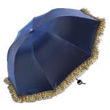 百盛洋 清艳脱俗黑胶防晒折叠拱形蕾丝公主太阳伞 4320紫兰