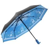 美度(MAYDU)Black系列小黑伞卡通小鹿全自动折叠晴雨伞 女士三折防晒遮阳伞 M3331蓝色