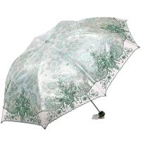 天堂伞 (UPF50+)雪绒花飘黑胶三折绣花太阳伞晴雨伞31805E绿色