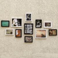 晟旎尚品 11框实木组合相框墙照片墙 组合创意相框 黑白色
