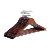佳佰 衣架 成人晒衣服架 实木经典衬衫衣架 44.5CM肩宽 复古色 10支装 2H015