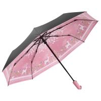 美度(MAYDU)Black系列小黑伞卡通小鹿全自动折叠晴雨伞 女士三折防晒遮阳伞 M3331粉色