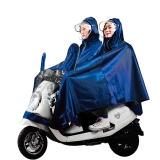 雨航 YUHANG 戶外騎行電動電瓶摩托車雨衣男女式雙人雨披 大帽檐 4XL藏青色