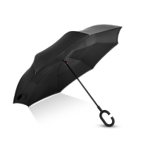 Hommy 雙層反向反骨超強防雨防曬免持式長柄直柄傘收納便捷 黑色