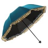 百盛洋伞 防晒防紫外线遮阳伞三折晴雨两用伞蕾丝女黑胶太阳伞 4320宝兰