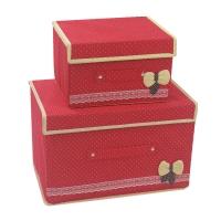 空间工房 布艺无纺布收纳盒整理箱 衣服杂物收纳箱储物箱2件套(1大1小)红色