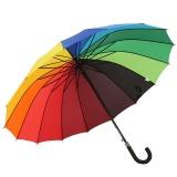 百盛洋傘 加大防風拒水甩干16骨彩虹傘 長柄雨傘 雙人情侶晴雨傘 9101 男女通用自開 花色