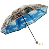 百盛洋伞 三折晴雨伞 创意彩胶防晒伞 防紫外线太阳伞蓝天白云晴雨两用双层雨伞6337S 春醒
