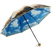 百盛洋伞 三折晴雨伞 创意彩胶防晒伞 防紫外线太阳伞蓝天白云晴雨两用双层雨伞6337S 晚秋