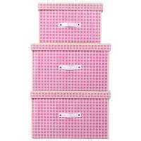 百草园 粉格收纳箱整理箱 衣服杂物收纳盒储物箱 30L+60L+60L 2大1中 3个装