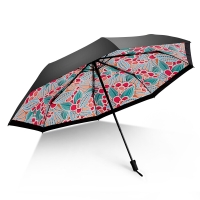iRain Umbnella 防晒伞折叠防紫外线伞晴雨伞太阳伞三折伞黑胶伞遮阳伞 千华