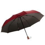 百盛洋伞 10骨全自动晴雨伞 拒水甩干商务雨伞 加大实木手柄折叠创意伞 6343男女 红色