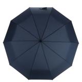 百盛洋伞 10骨全自动雨伞 易甩干商务伞加大皮革手柄折叠创意伞6350 男女通用 兰色