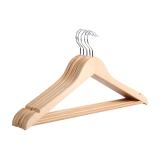 佳佰 衣架晒衣架衣服架成人衣架 实木衬衫衣架 44.5CM肩宽  原木色 5支装 2H014