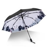 iRain Umbnella 防晒伞折叠防紫外线伞晴雨伞太阳伞三折伞黑胶伞遮阳伞 猫咪物语