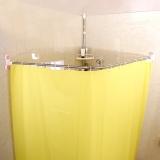 寶優妮免打孔L型浴簾桿 衛生間不銹鋼伸縮桿浴簾套裝DQ1615-3