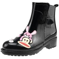 PaulFrank 大嘴猴雨鞋女士时尚手绘雨靴防水胶鞋套鞋 PF1009 黑色 38码