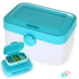 亿高EKOA药箱药盒套装家庭医药箱分格急救箱多功能保健收纳盒子三件套