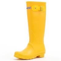 大嘴猴(Paul Frank)雨鞋纯色女士时尚防水胶鞋雨靴套鞋 PF1015 黄色 36