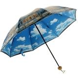 百盛洋伞 三折晴雨伞 创意彩胶防晒伞 防紫外线太阳伞蓝天白云晴雨两用双层雨伞6337S 暖冬