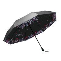 奈洛(NIELLO)防晒遮阳伞太阳伞防紫外线 黑胶小黑伞双层三折叠雨伞 N834002
