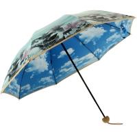 百盛洋伞 三折晴雨伞 创意彩胶防晒伞 防紫外线太阳伞蓝天白云晴雨两用双层雨伞6337S 多彩江南