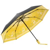 美度(MAYDU)Black系列小黑伞卡通小鹿全自动折叠晴雨伞 女士三折防晒遮阳伞 M3331黄色