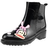 PaulFrank 大嘴猴雨鞋女士时尚手绘雨靴防水胶鞋套鞋 PF1009 黑色 39码