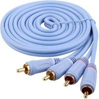 弗吉凯柏(cabos)F0205  RCA 2对2音频信号线双莲花头音响功放连接线5米 天蓝色