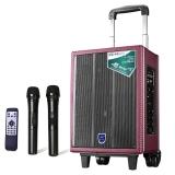 双诺 声美Q802 8英寸低音 户外拉杆音箱 便携式广场舞音响 大功率录音扩音器 双手持麦 深红色