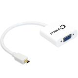 弗吉凯柏(cabos)F010 MICRO HDMI转VGA高清转换器 hdmi转vga转接头 不带音频电源 白色