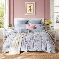 梦洁家纺出品 MEE 床品套件 纯棉印花清新素雅四件套 全棉床单被罩 甜馨 1.5米床 200*230cm