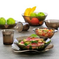 DURALEX/多莱斯 餐具套装碗盘套装 微波炉适用 西餐餐具套装8件套 咖啡色