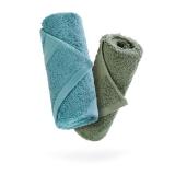 佳佰 纯棉毛巾两条装埃及长绒棉面巾全棉加厚吸水速干礼盒 蓝色/绿色(34*78cm/160克/条*2)