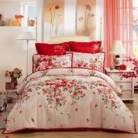 LOVO罗莱生活出品 全棉缎纹六件套婚庆 床上用品床单被罩 浓情芭莎200*230cm